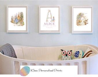 Personalised Peter Rabbit Nursery Art, Beatrix Potter Nursery Decor, Peter Rabbit Decor, Nursery Wall Art, Set of 3, Girl Wall Art