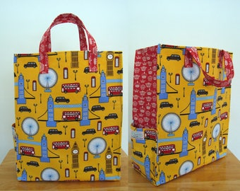 London Eco Bag, Fun Tote, Grocery Bag, Market Tote, Carry All Bag, Big Ben, Double Decker Bus, Taxi, London Eye, Tower Bridge, London Gifts