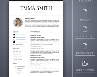 Resume Template Five - 4 pages, Cover Letter, Microsoft Word, Instant Download, Professional Resume Template, CV Template, CV Template Word