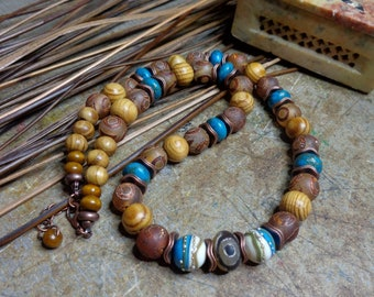 Ethnic necklace, dzi and Lampwork beads, rustic necklace, wood, agate dzi, picasso Jasper, turquoise necklace, gift
