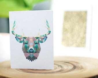 Deer Greeting Card, Handmade, Blank Inside, Black or White Envelope, Polygon