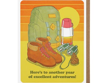 Excellent Adventures Birthday Letterpress Card