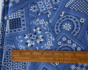 "Last Piece! 1 yard 1950s Bandana Fabric Blue Vintage 36"" wide 100% cotton - 84-B10"