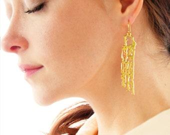 Brass Filigree Earrings, Brass Dangle Earrings, Seashell Earrings, Ocean Statement Earrings, Beach Wedding, Gift for her, Scroll filigree