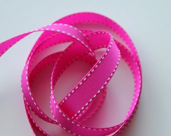 """5/8"""" Grosgrain Ribbon with Side Stitching - Fuchsia with White Stitching 5 yards"""