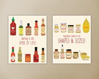 Hot Sauce Art Print, Kitchen Art, Mustard Art Print, Foodie Art, Print Set, Kitchen Decor, Hot Sauce Print, Hot Sauce, Mustard, Print Set