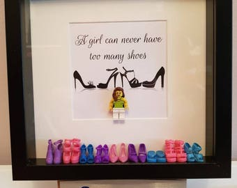 Girl can never have too many shoes Lego 3d Frame Shabby Chic present gift