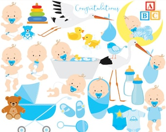 Baby clipart baby clip art baby boy baby shower pregnancy birth stork blue bath rubber duck toys baby bottle one-piece commercial use