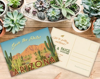 Arizona Save The Date Postcard With Personalized Art (50 QTY)