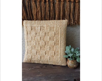 Unique Woven Straw Accent / Throw Pillow - Boho Style