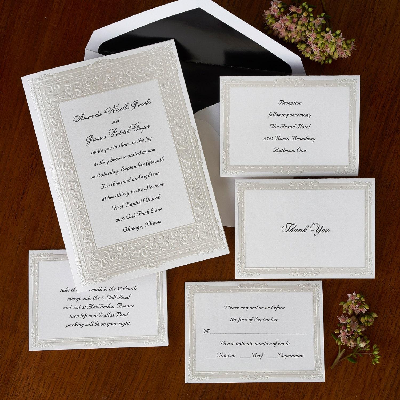 Pure Romance Wedding Invitations Pearl embossed