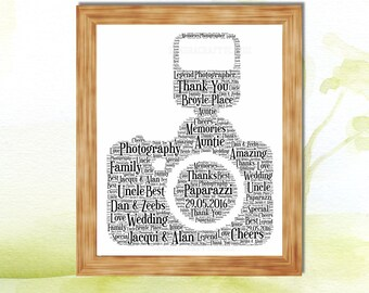 Camera Personalised Gift Word Art Print Photography Gift Christmas Birthday Fathers Day Thank you present