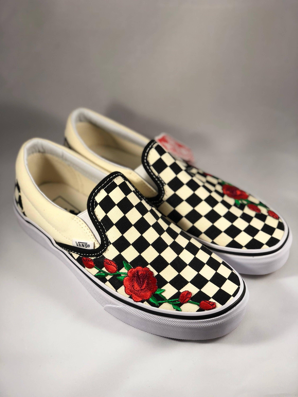 womens custom sneakers slip on sneakers rose vans Custom