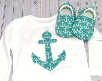 Anchors Baby Shoes and Bodysuit, Soft Sole Baby Shoes, Baby Shower Gift, nautical outfit, sailor outfit, Gender Neutral, Aqua baby shoes