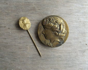 Vintage Brass Jewelry , Art Nouveau Brooch and Stick Pin , Woman Cameo Style Pressed Brass , Jewelry Parts , Assemblage Art Vintage Supplies