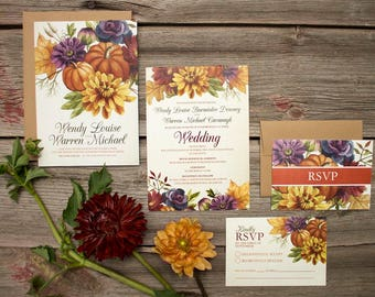 Autumn Floral Custom Watercolour Wedding Invitations and Stationery - SAMPLE - Botanical Wedding Invitations - Artwork by Alicia's Infinity
