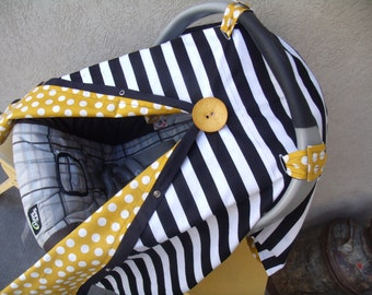 Carseat Canopy Black Stripe Mustard Dot infant carseat cover BUTTON NOT INCLUDED