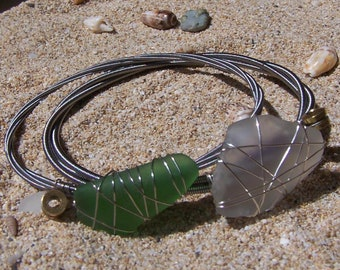Hawaiian Beach Glass and Bass Guitar String Bracelets Choose one or Both