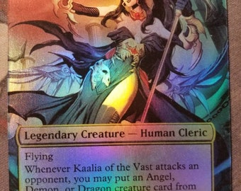 Foil Kaalia of the Vast full art casual play card for mtg with new card back
