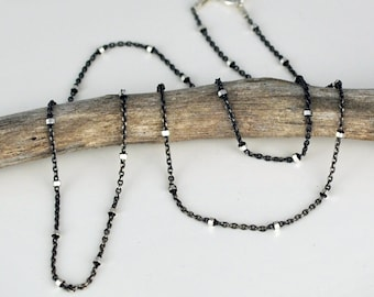 Gunmetal Sterling Silver Ball Chain, Two Tone Chain, Oxidized Silver Necklace, Jewelry By Naomi