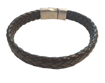 Mens leather braided bracelet