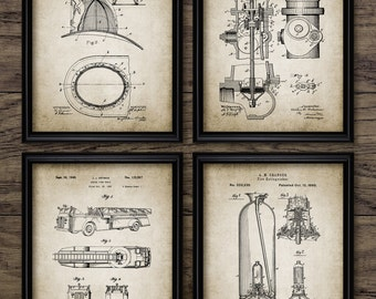 Bon Vintage Firefighter Patent Print   Firefighting Blueprint Wall Art   Fire  Rescue Gift Home Decor