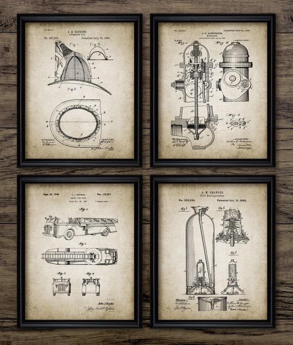 Vintage Firefighter Patent Print Firefighting Blueprint Wall