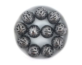 12mm Brass Filigree Bead, Metal Round Spacer, Hollow Bead, Gunmetal, 20pc, MF0201