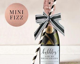 Mini Champagne Bottle Labels-Wine Label-Bridal Shower Favor-Wedding Favor-Hens Party-Printable-Wine Label-Mini Fizz-Mini Label#SN015_WL