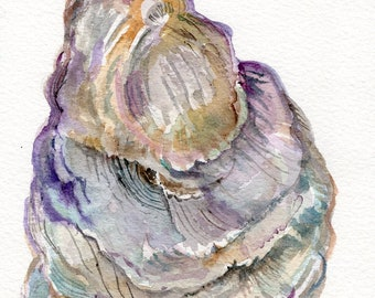 Original Oyster Shell Watercolor Painting  5 x 7 oyster watercolor, oyster art, oyster painting, watercolor oysters wabi-sabi, not a print