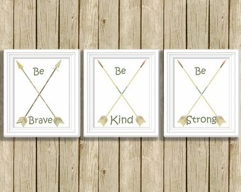 Tribal Nursery art prints Be Brave Be Kind Be Strong quote wall art printable nursery wall decor digital downloadable poster baby room art