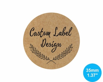 35mm Circle (1.37 inches) Kraft Round Custom Stickers/Labels for Product Labels, Wedding Seals, Packaging