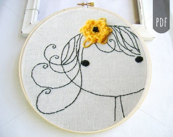 PDF Hand Embroidery Pattern | Clementine with Flower in Her Hair