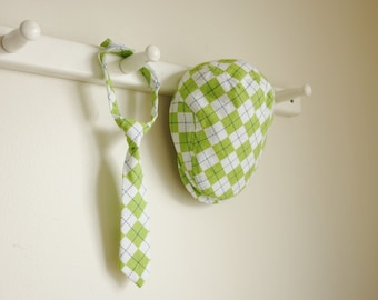 Lime green argyle newsboy cap and necktie set , baby boy photo prop newsboy hat and necktie set  -  made to order