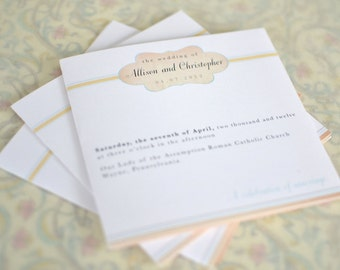 Wedding Program : Taupe and Teal Vintage Inspired Cachet