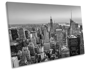New York City Dusk NYC Black and White Picture Canvas WALL ART Print