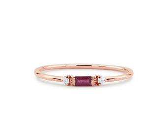 Ruby Ring / Baguette Ruby Ring / 14k Rose Gold Minimalist Ruby Ring / Stacking Three-Stone Round Diamond Ruby Ring / Promise Ring