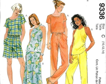 Easy McCall's 9336 Misses Tops, Pull-On Bias Skirt & Pull-On Pants or Shorts Pattern, 10-14, UNCUT