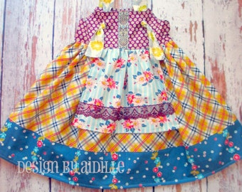 """Girls Dress Pattern, PDF Sewing Patterns for Girls, Easy Sewing Pattern for Beginners, """"The Ava Knot Dress"""" Sizes 6m through girls size 12"""