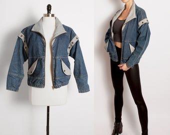vtg denim jacket vest/ denim vest/ jean jacket/ jean vest/ oversize coat/ removable sleeves/80s 90s denim/ acid wash/ hipster/ boxy/ rocker