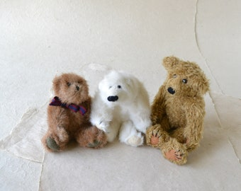 Vintage Teddy Bear Collection - Three Small Jointed Bears - Collectible Teddy Bears