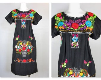 Vintage Oaxacan Mexican Cinco de Mayo Dress, Embroidered Cotton, Sz S