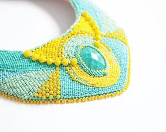 Pastel Teal bohemian necklace, boho necklace, bib necklace, statement necklace, tribal necklace, unique necklace, fashion necklace