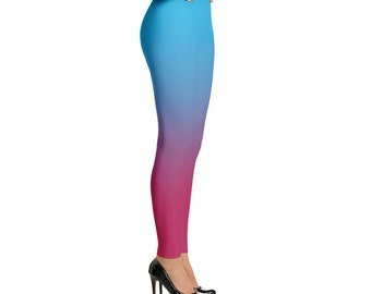Blue to Pink Ombre Leggings