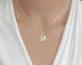 Lotus necklace Silver lotus Lotus flower  Lotus charm Yoga jewelry Yoga necklace Lotus flower jewelry