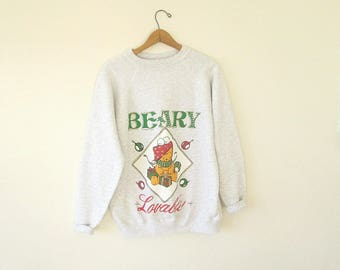 Vintage 80s/90s BEARY LOVEABLE Holiday Christmas Bear Wrapping Presents Sweatshirt Sz L
