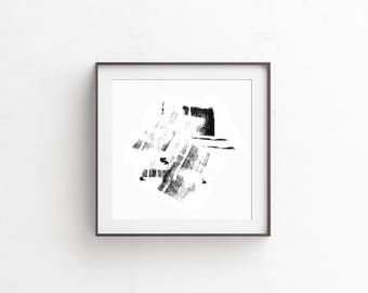 Black & White Abstract Pastel Artwork
