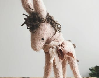 palest pink donkey - handmade mohair donkey soft sculpture animal