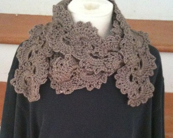 Scarf, Queen Anne Lace Scarf, Scarves, Crochet, Womens accessories, Girls Accessories, Taupe