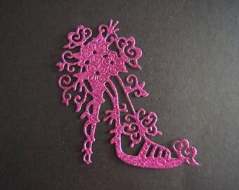 1 cut fuchsia glitter heel